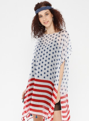 Red - Navy Blue - Pareo