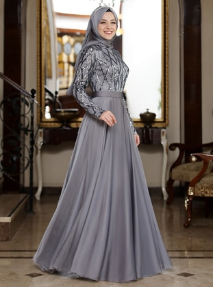 26d358c61b496 Gray - Unlined - Crew neck - Muslim Evening Dress