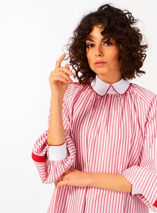Red - Round Collar - Cotton - Tunic