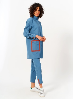 Blue - Cotton - Trench Coat