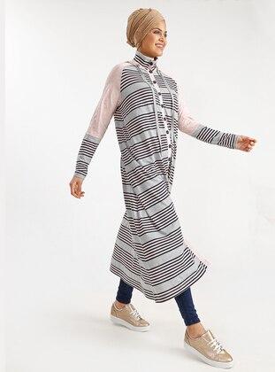 Pink - Gray - Stripe - Polo neck - Cotton - Topcoat