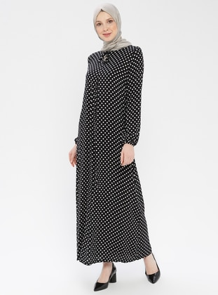 Black - Polka Dot - Crew neck - Unlined - Viscose - Dress