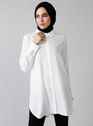 White - Ecru - Point Collar - Viscose - Tunic