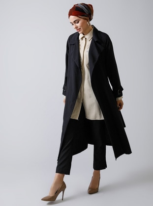 Black - Unlined - Shawl Collar -  - Trench Coat - Refka