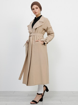 Mink - Unlined - Shawl Collar -  - Trench Coat - Refka