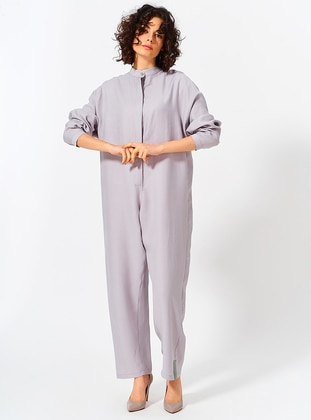 Gray - Crew neck - Jumpsuit