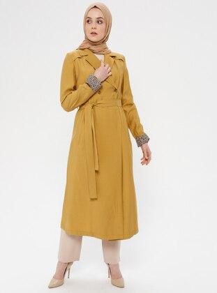Mustard - Leopard - Unlined - Shawl Collar - Topcoat