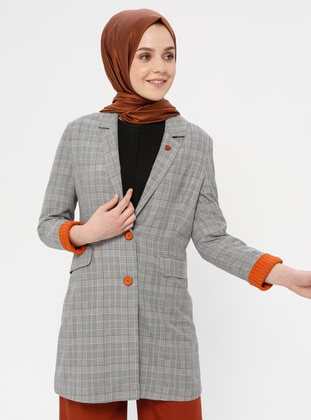 Multi - Plaid - Unlined - Shawl Collar - Jacket
