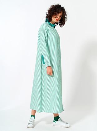 Green - Unlined - Cotton - Dress