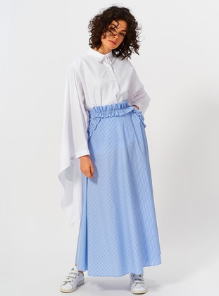 Blue - Unlined - Cotton - Skirt
