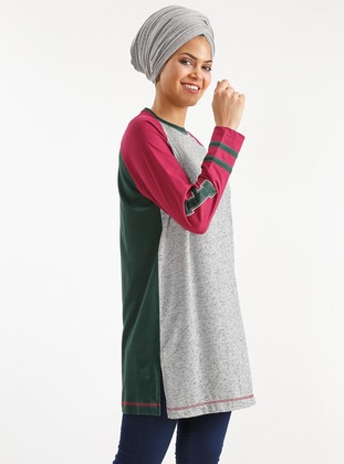 Red - Gray - Crew neck - Cotton - Tunic