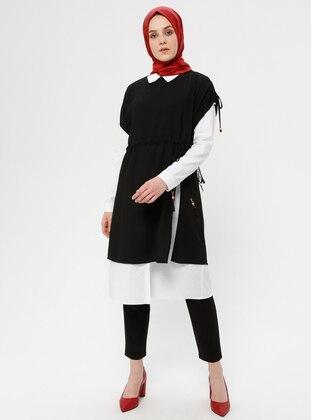 Black - White - Unlined - Suit