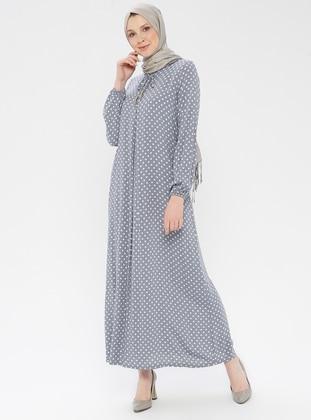 9f6f9cc032b Gray - Polka Dot - Crew neck - Unlined - Viscose - Dress