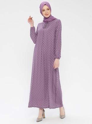 Lilac - Polka Dot - Crew neck - Unlined - Viscose - Dress