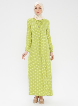 Green - Olive Green - Polka Dot - Crew neck - Unlined - Viscose - Dress