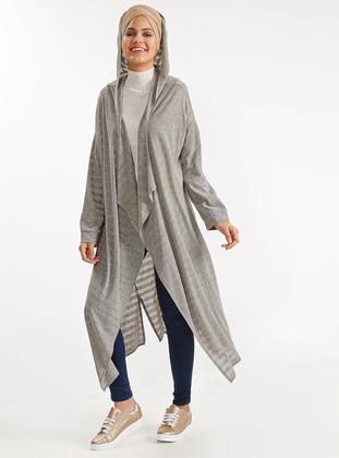 Gray - Stripe - Cotton - Cardigan