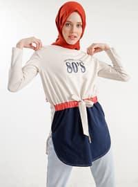 White - Ecru - Crew neck - Cotton - Tunic