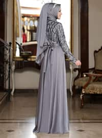 Gray - Unlined - Crew neck - Muslim Evening Dress