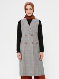 Black - White - Terra Cotta - Plaid - Unlined - Shawl Collar - Cotton - Vest