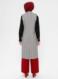Black - White - Multi - Plaid - Unlined - Shawl Collar - Cotton - Vest