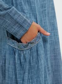 Blue - Crew neck - Unlined - Cotton - Dress
