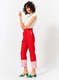 Red - Cotton - Pants