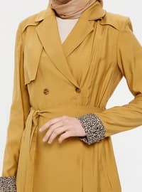 Mustard - Leopard - Unlined - Shawl Collar - Topcoat