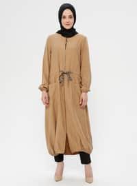 Camel - Leopard - Unlined - Crew neck - Topcoat