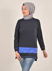 Blue - Navy Blue - Crew neck - Cotton - Tunic