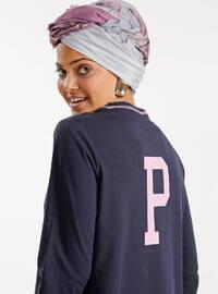 Navy Blue - Pink - Crew neck - Cotton - Tunic