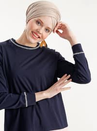 Navy Blue - Salmon - Crew neck - Cotton - Tunic