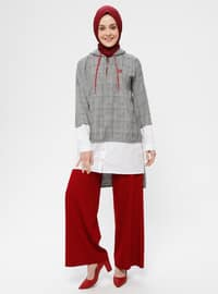 Red - Black - White - Plaid - Tunic