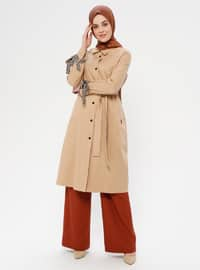 Camel - Leopard - Unlined - Point Collar - Topcoat