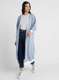 Blue - Indigo - Cotton - Cardigan