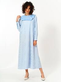 Blue - Unlined - Cotton - Dress