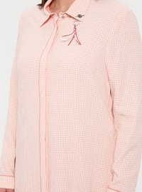 White - Salmon - Checkered - Point Collar - Plus Size Tunic