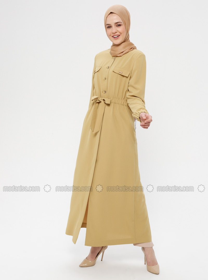 Olive Green - Crew neck - Unlined - Dress