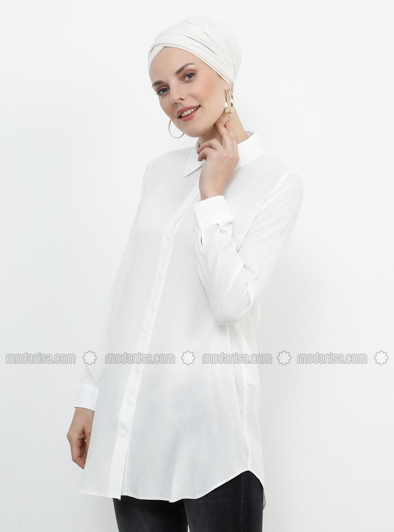 White - Ecru - Point Collar - Viscose - Tunic