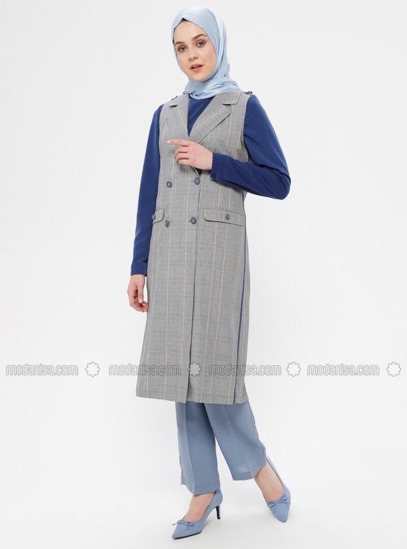 Blue - Black - White - Plaid - Unlined - Shawl Collar - Cotton - Vest