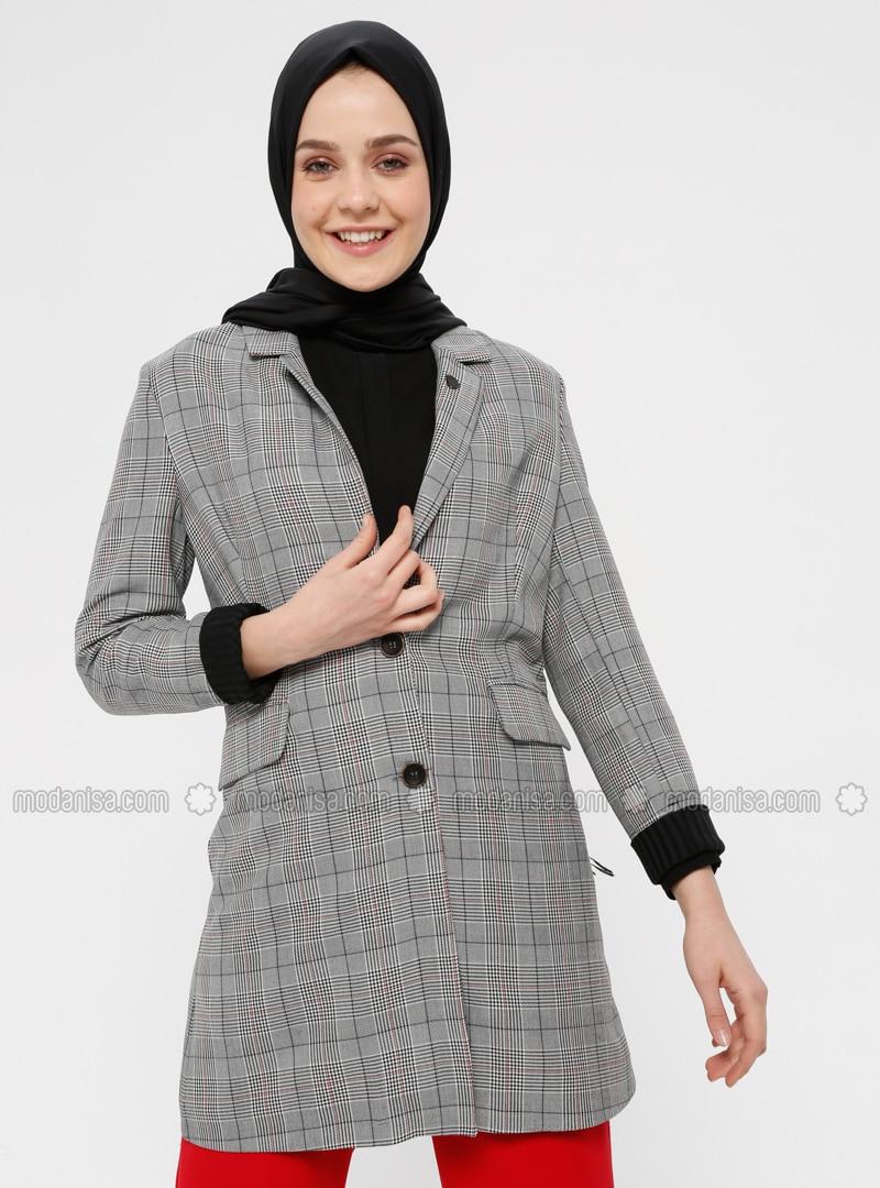 Red - Black - White - Plaid - Unlined - Shawl Collar - Jacket