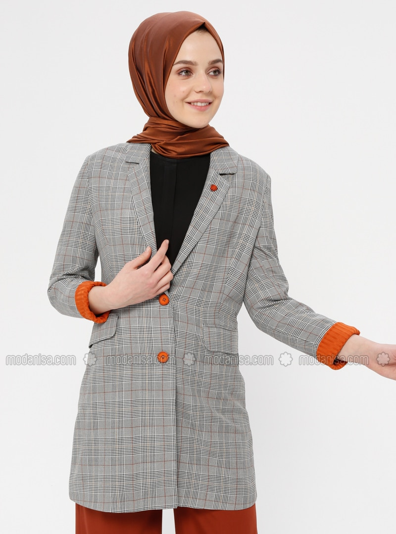 Multi - Plaid - Unlined - Shawl Collar - Jacket
