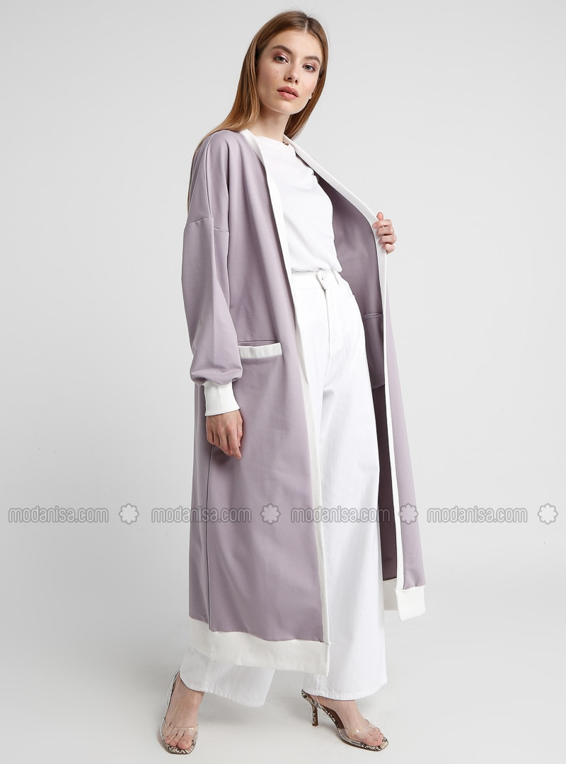 Purple - Lilac - Cotton - Cardigan