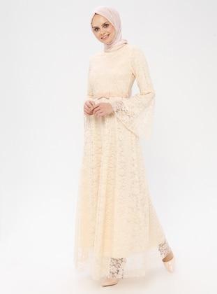Cream - Crew neck - Fully Lined - Dress