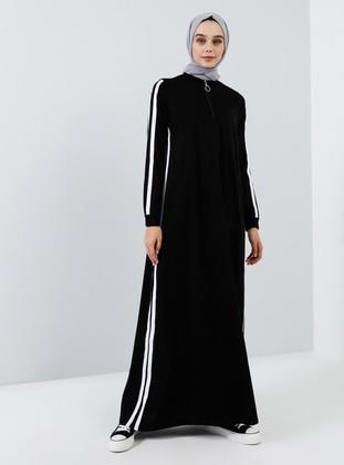 Black - Unlined - Polo neck -  - Dress