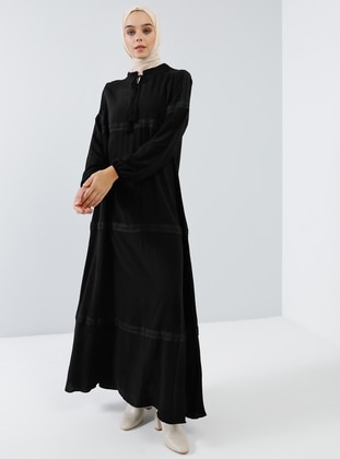 Black - V neck Collar - Unlined - Viscose - Dress