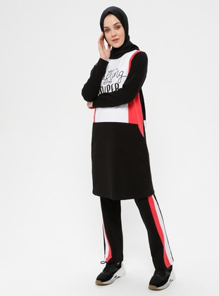 Black - Coral - Multi - Cotton - Crew neck - Tracksuit Set