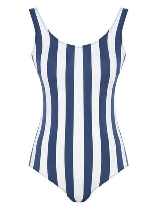 White - Navy Blue - Stripe - Half Covered Switsuits