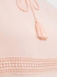 Powder - V neck Collar - Unlined - Viscose - Dress
