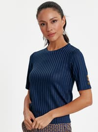 Navy Blue - Crew neck - T-Shirt