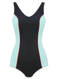 Green - Navy Blue - Multi - Half Covered Switsuits
